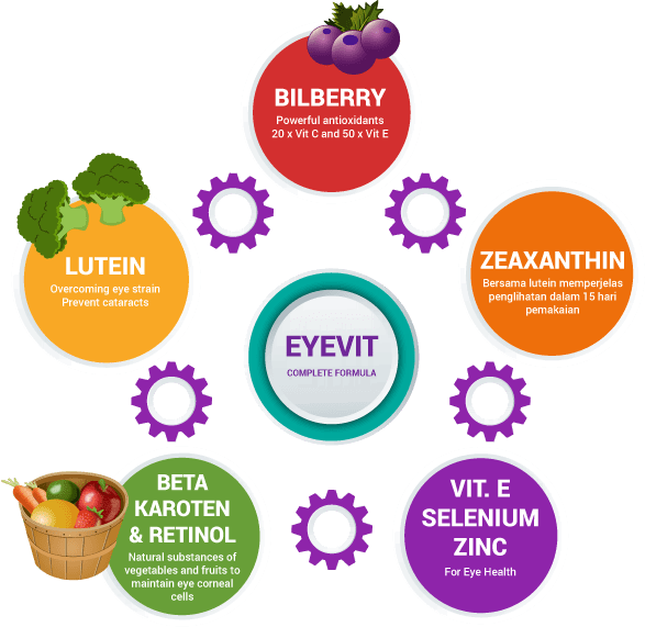 Eyevit Eye Vitamin contains bilberry, lutein, and zeaxanthin to keep eye healthy